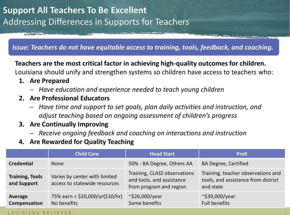 Are Prepared Have education and experience needed to teach young children 2.