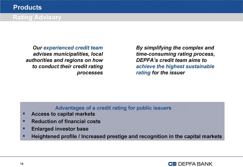 achieve the highest sustainable rating for the issuer Advantages of a credit rating for public issuers Access to capital