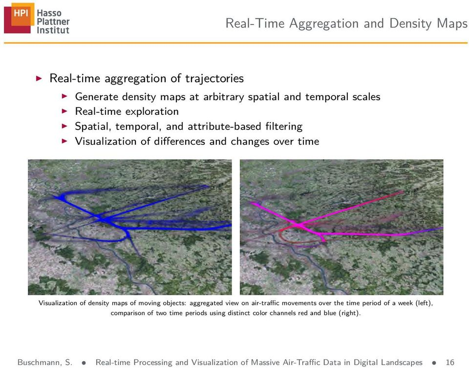 density maps of moving objects: aggregated view on air-traffic movements over the time period of a week (left), comparison of two time periods