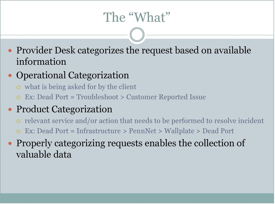 Categorization relevant service and/or action that needs to be performed to resolve incident Ex: Dead Port =