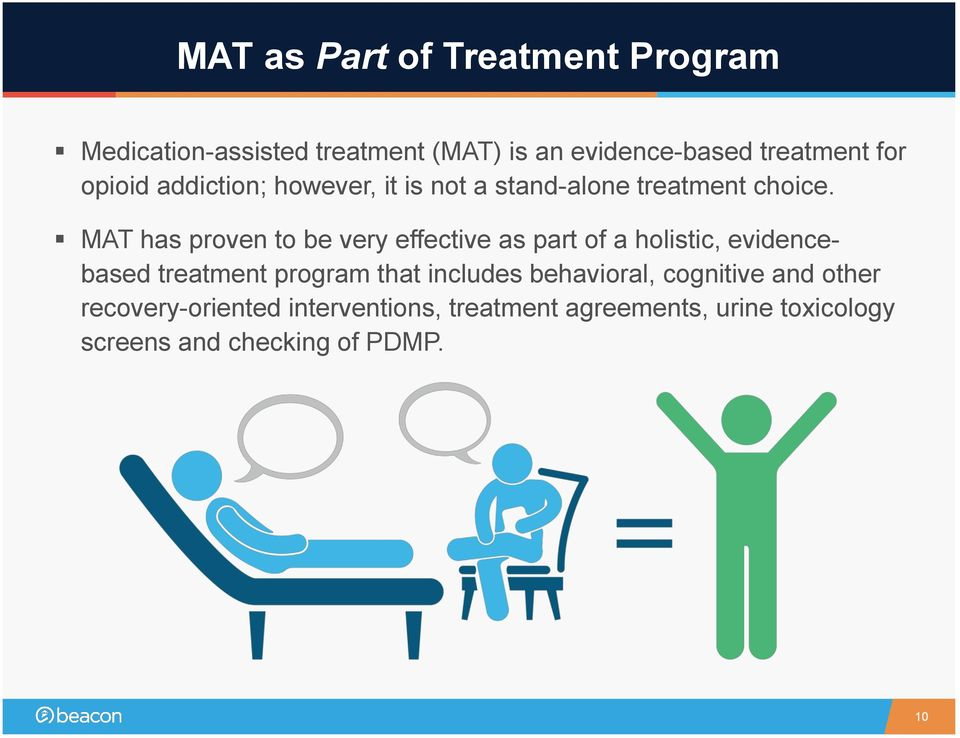MAT has proven to be very effective as part of a holistic, evidencebased treatment program that