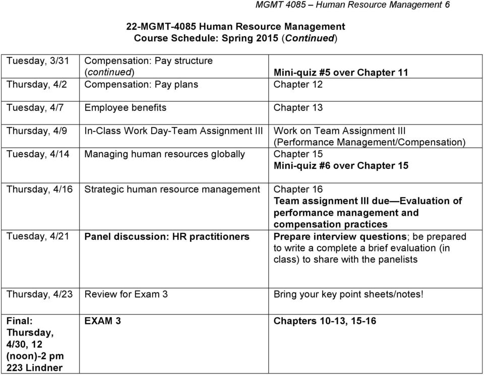 Management/Compensation) Tuesday, 4/14 Managing human resources globally Chapter 15 Mini-quiz #6 over Chapter 15 Thursday, 4/16 Strategic human resource management Chapter 16 Team assignment III due