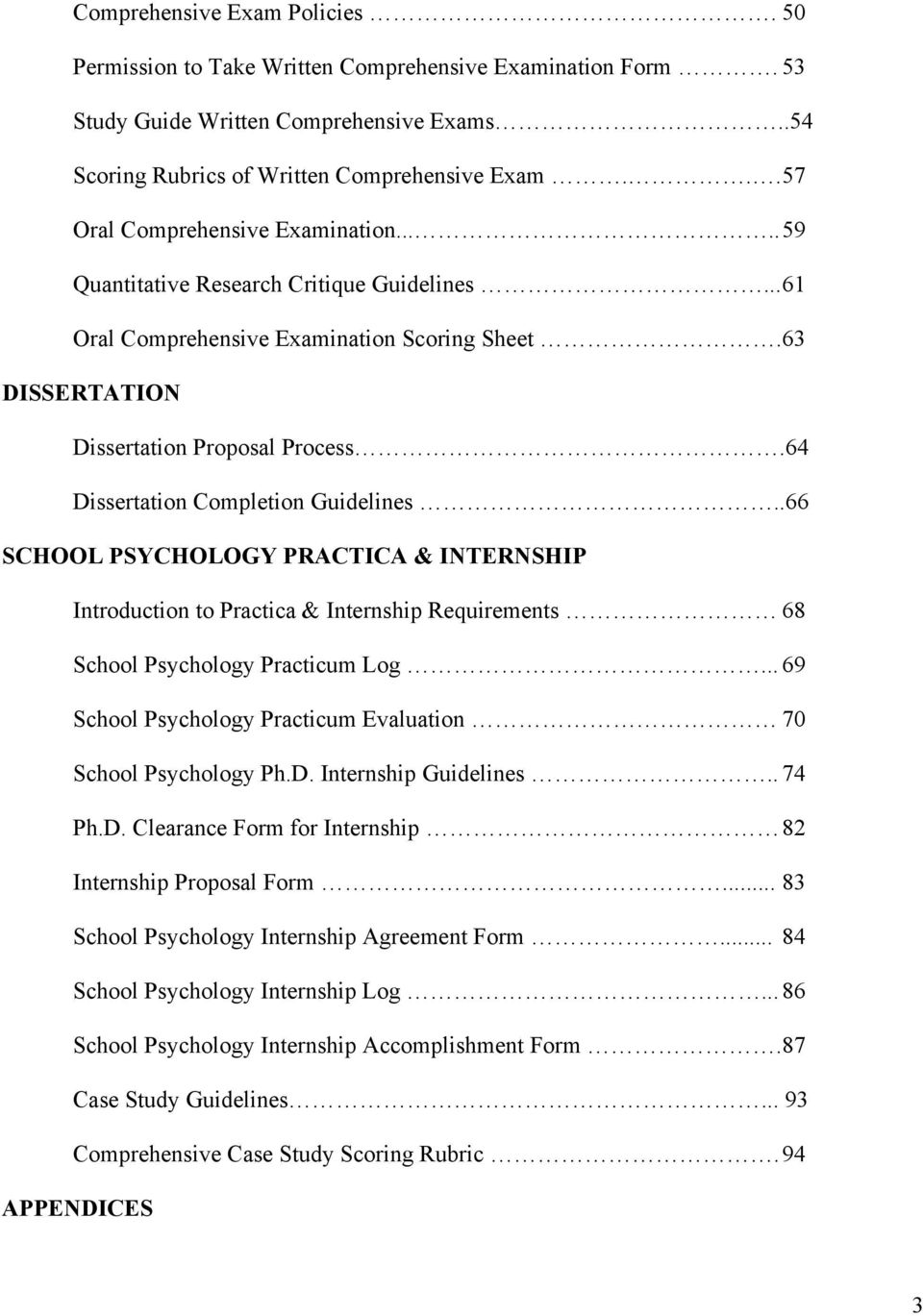 64 Dissertation Completion Guidelines..66 SCHOOL PSYCHOLOGY PRACTICA & INTERNSHIP Introduction to Practica & Internship Requirements 68 School Psychology Practicum Log.