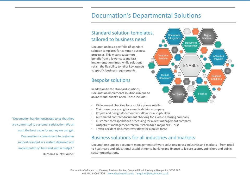 Bespoke solutions In addition to the standard solutions, Documation implements solutions unique to an individual client s need.