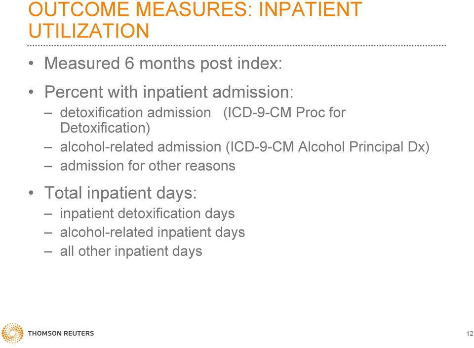 admission (ICD-9-CM Alcohol Principal Dx) admission i for other reasons Total inpatient