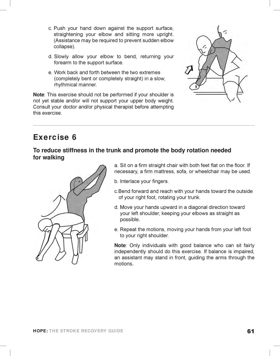 Note: This exercise should not be performed if your shoulder is not yet stable and/or will not support your upper body weight.