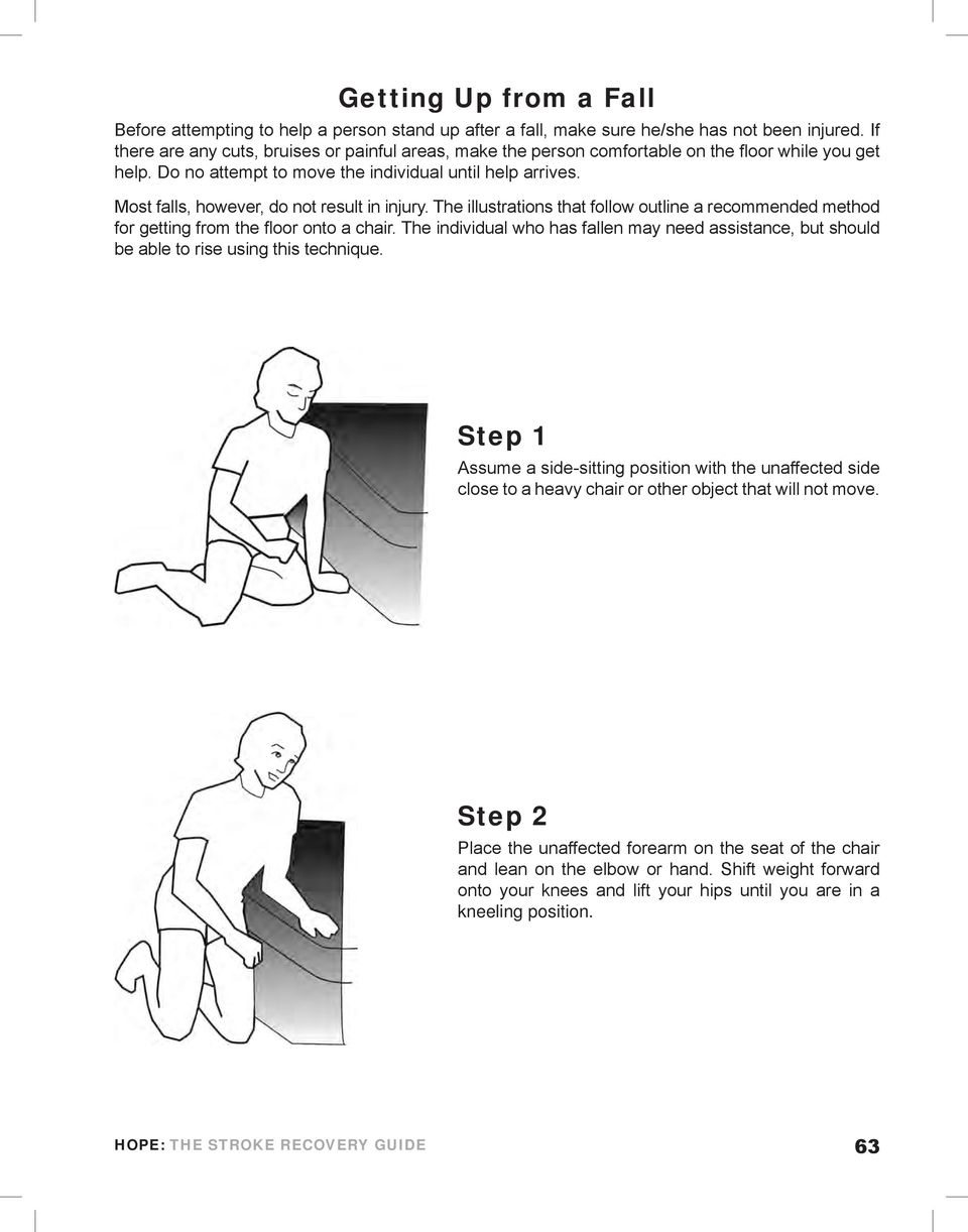 Most falls, however, do not result in injury. The illustrations that follow outline a recommended method for getting from the floor onto a chair.