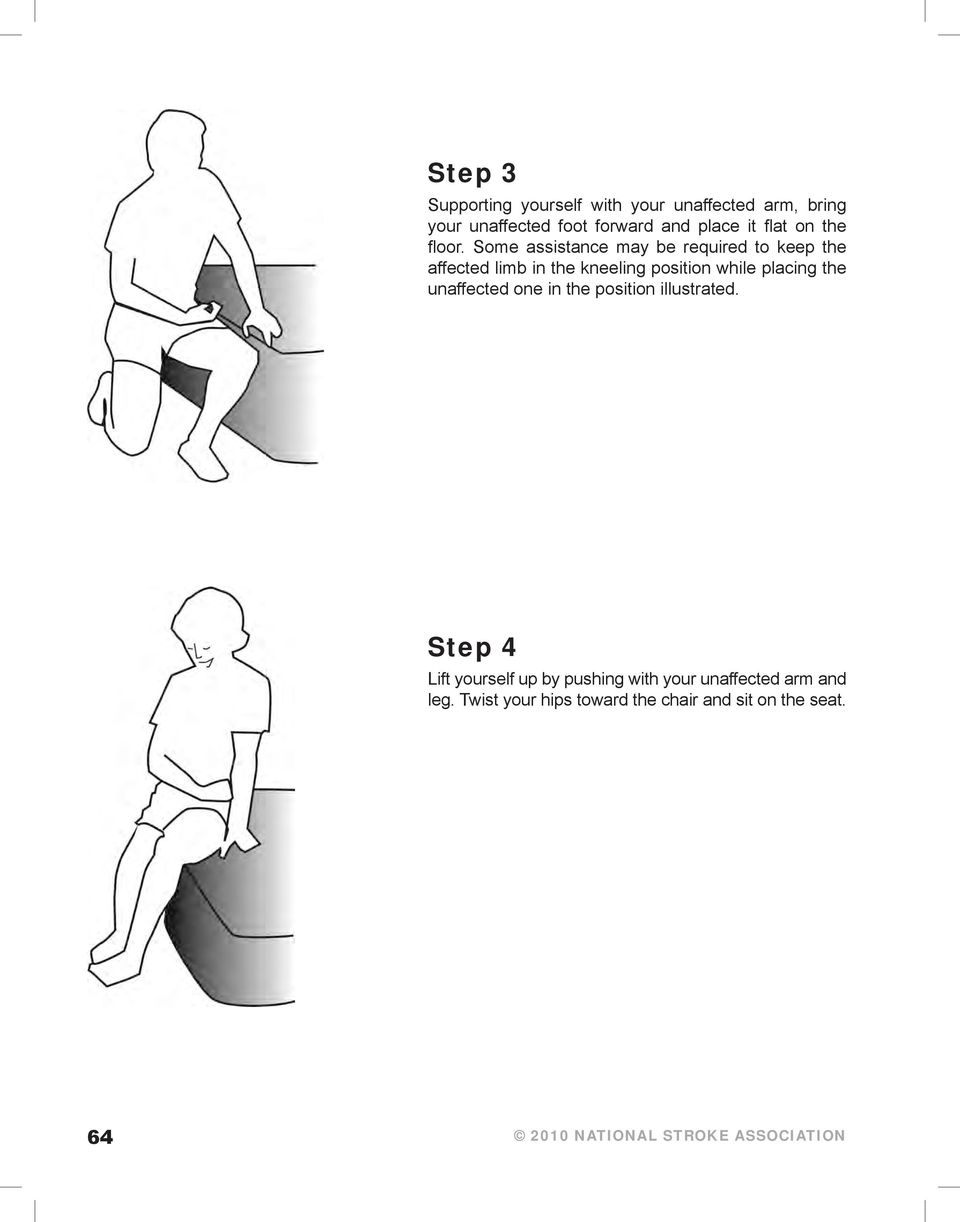 Some assistance may be required to keep the affected limb in the kneeling position while placing the