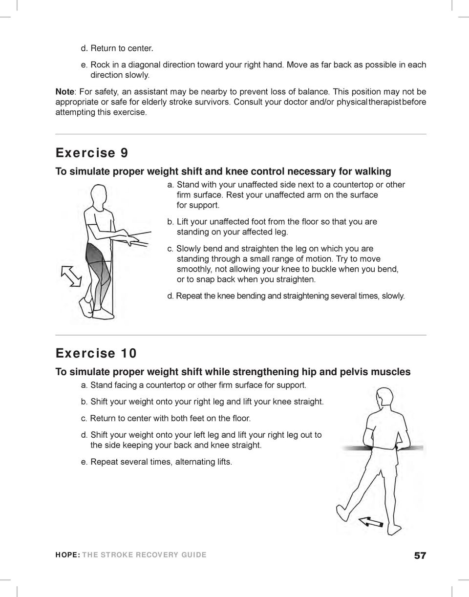 Consult your doctor and/or physical therapist before attempting this exercise. Exercise 9 To simulate proper weight shift and knee control necessary for walking a.