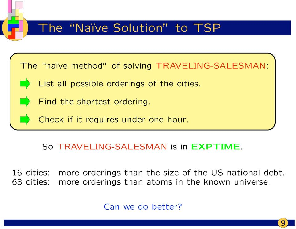 Check if it requires under one hour. So TRAVELING-SALESMAN is in EXPTIME.
