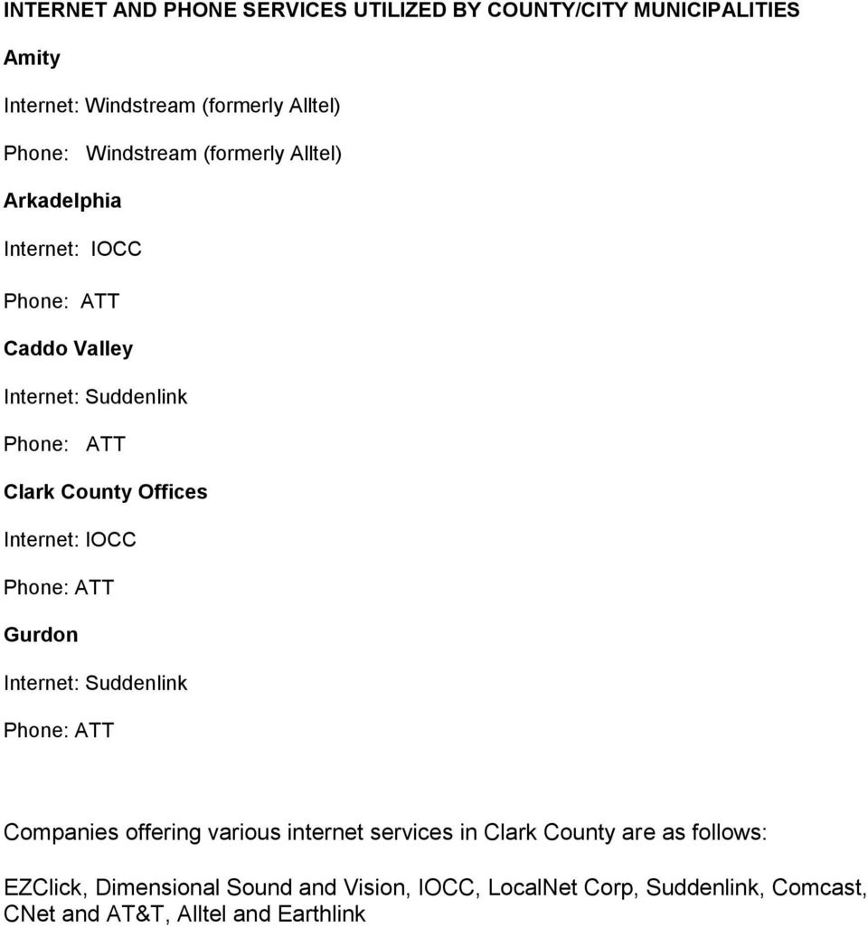 Offices Internet: IOCC Gurdon Internet: Suddenlink Companies offering various internet services in Clark County are as