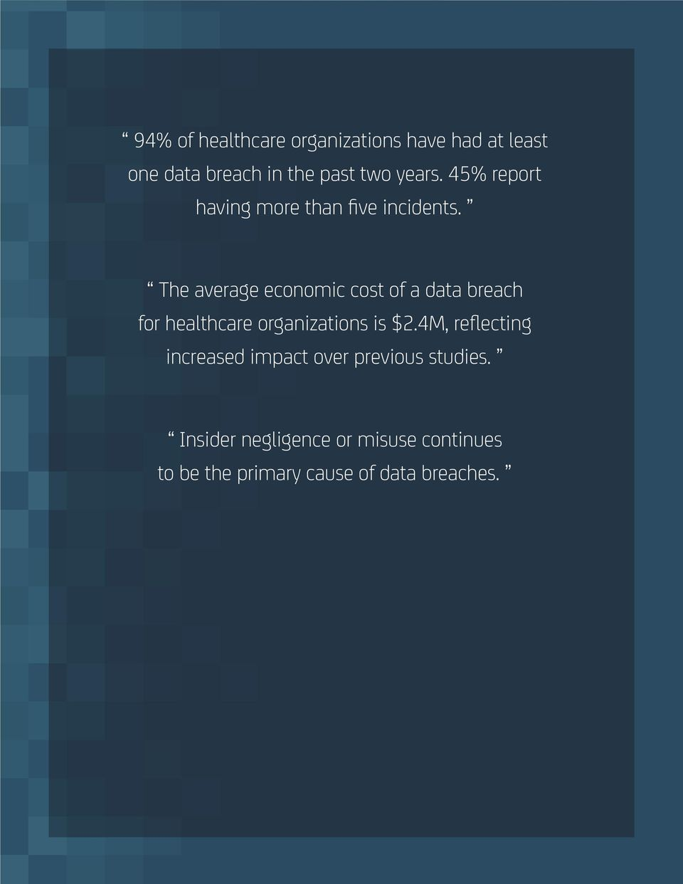 The average economic cost of a data breach for healthcare organizations is $2.