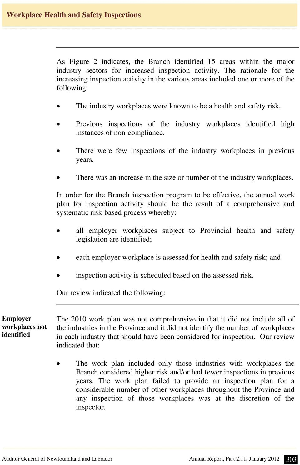 Previous inspections of the industry workplaces identified high instances of non-compliance. There were few inspections of the industry workplaces in previous years.