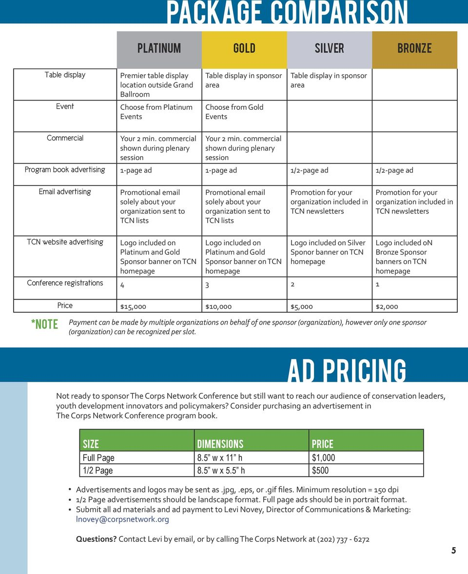 commercial shown during plenary session Program book advertising 1-page ad 1-page ad 1/2-page ad 1/2-page ad Email advertising Promotional email solely about your organization sent to TCN lists