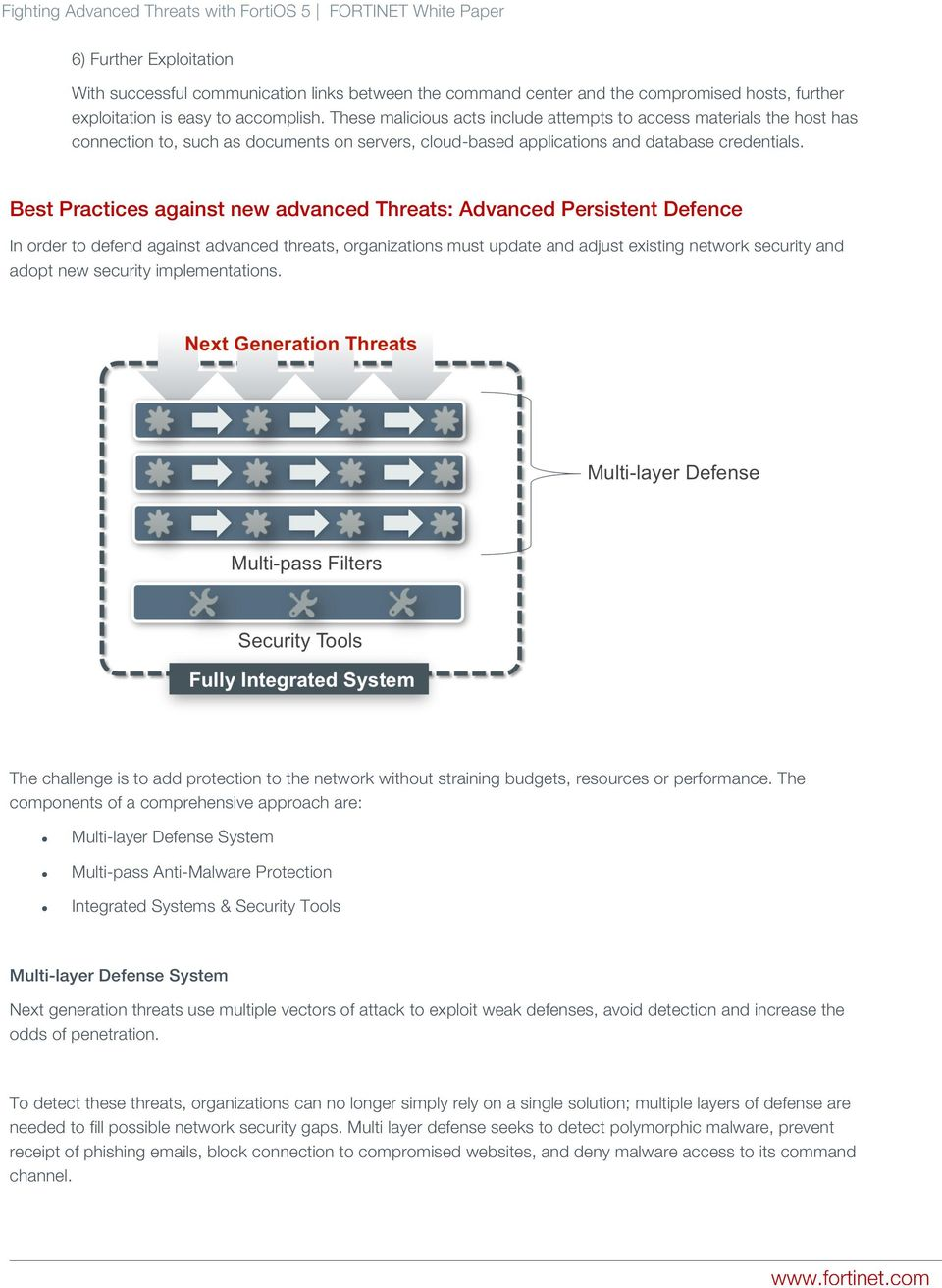 Best Practices against new advanced Threats: Advanced Persistent Defence In order to defend against advanced threats, organizations must update and adjust existing network security and adopt new