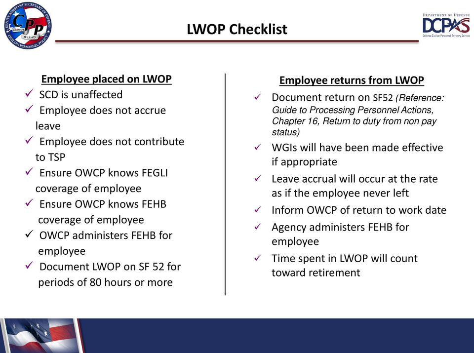 return on SF52 (Reference: Guide to Processing Personnel Actions, Chapter 16, Return to duty from non pay status) WGIs will have been made effective if appropriate Leave