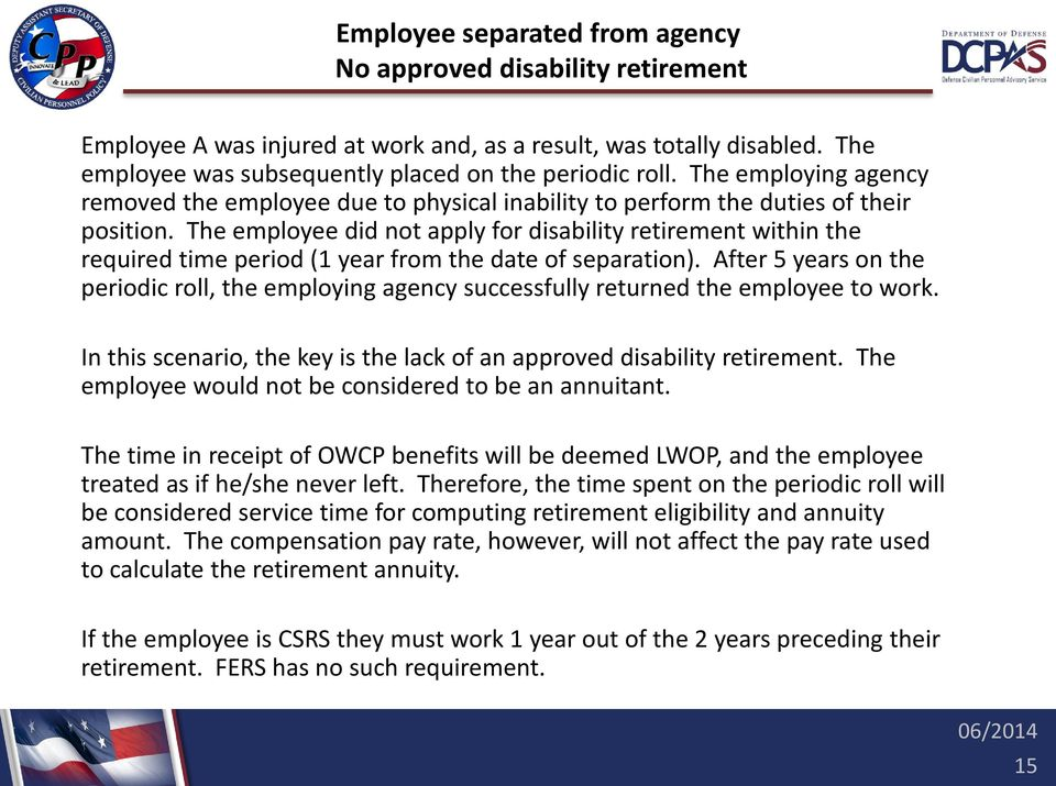 The employee did not apply for disability retirement within the required time period (1 year from the date of separation).