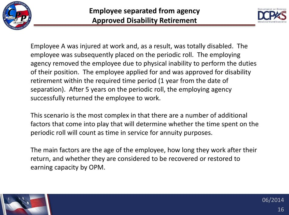 The employee applied for and was approved for disability retirement within the required time period (1 year from the date of separation).