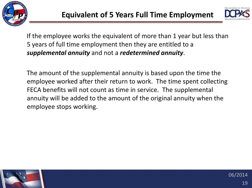 The amount of the supplemental annuity is based upon the time the employee worked after their return to work.