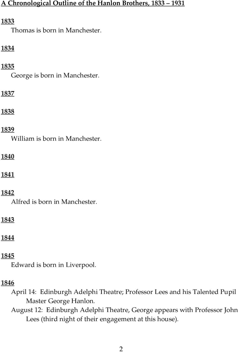 1840 1841 1842 Alfred is born in Manchester. 1843 1844 1845 Edward is born in Liverpool.