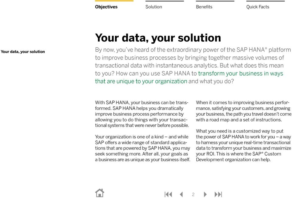 With SAP HANA, your business can be transformed.