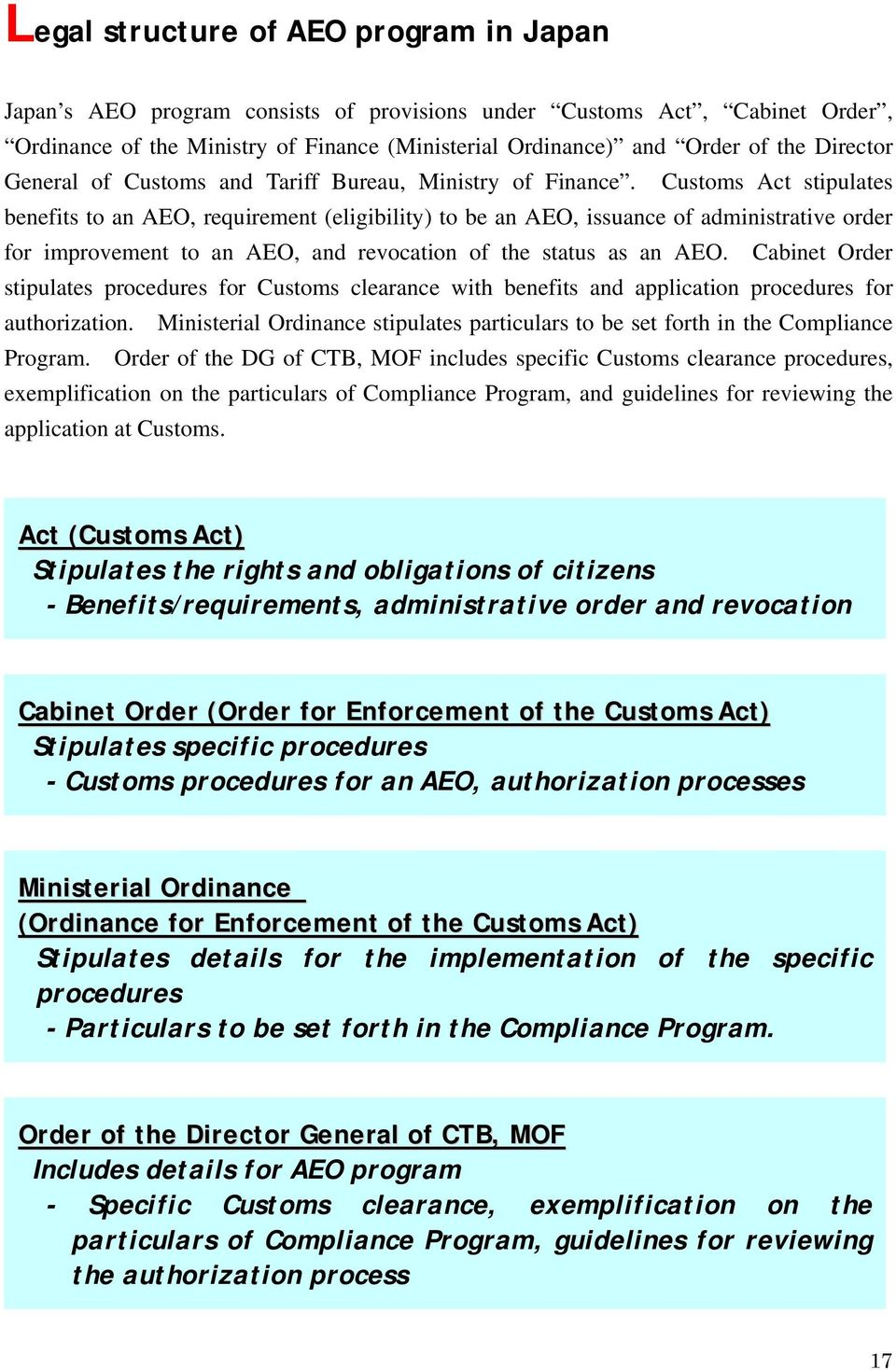 Customs Act stipulates benefits to an AEO, requirement (eligibility) to be an AEO, issuance of administrative order for improvement to an AEO, and revocation of the status as an AEO.