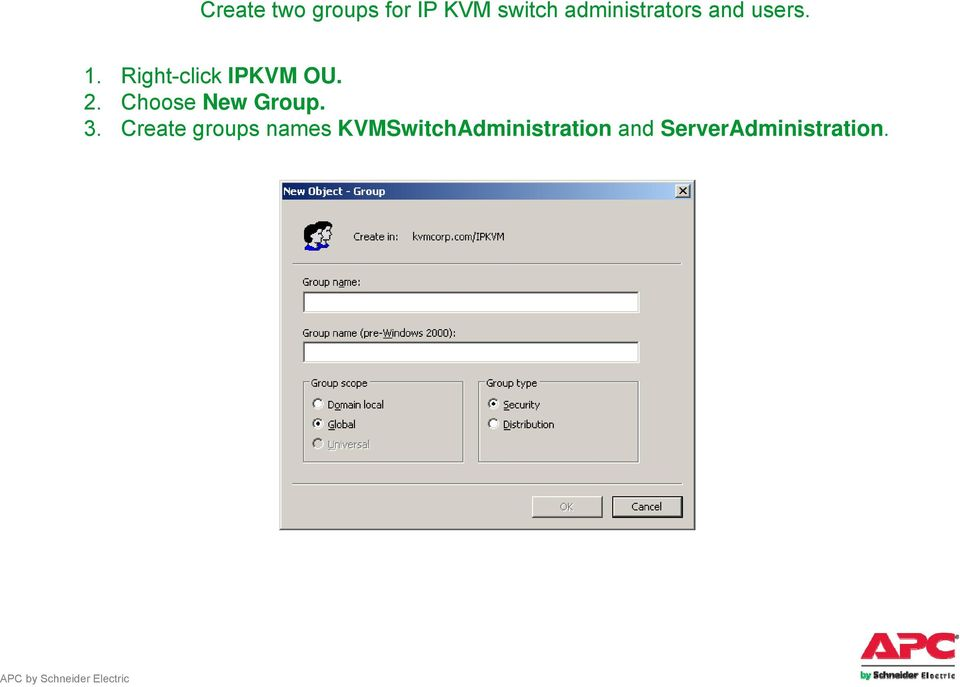 Right-click IPKVM OU. 2. Choose New Group. 3.