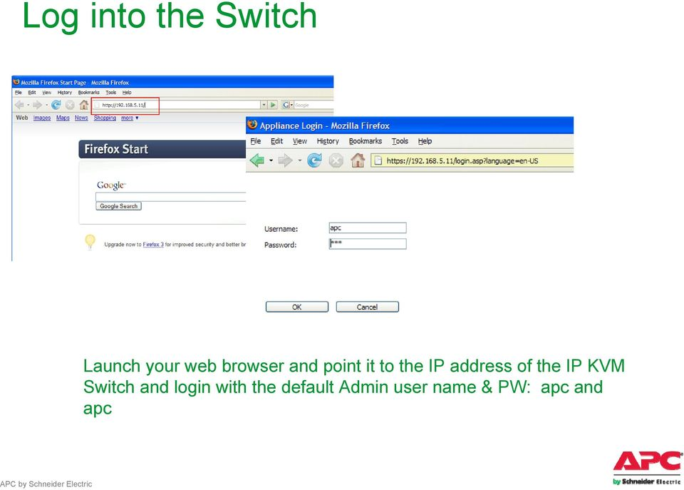 of the IP KVM Switch and login with