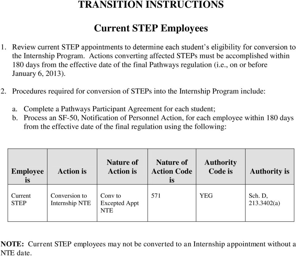 13). 2. Procedures required for conversion of STEPs into the Internship Program include: a. Complete a Pathways Participant Agreement for each student; b.