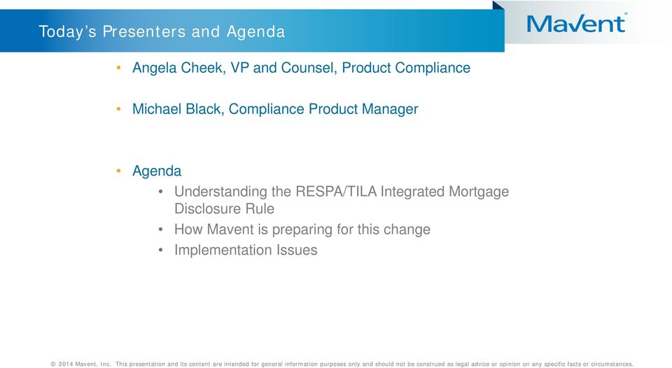 Agenda Understanding the RESPA/TILA Integrated Mortgage