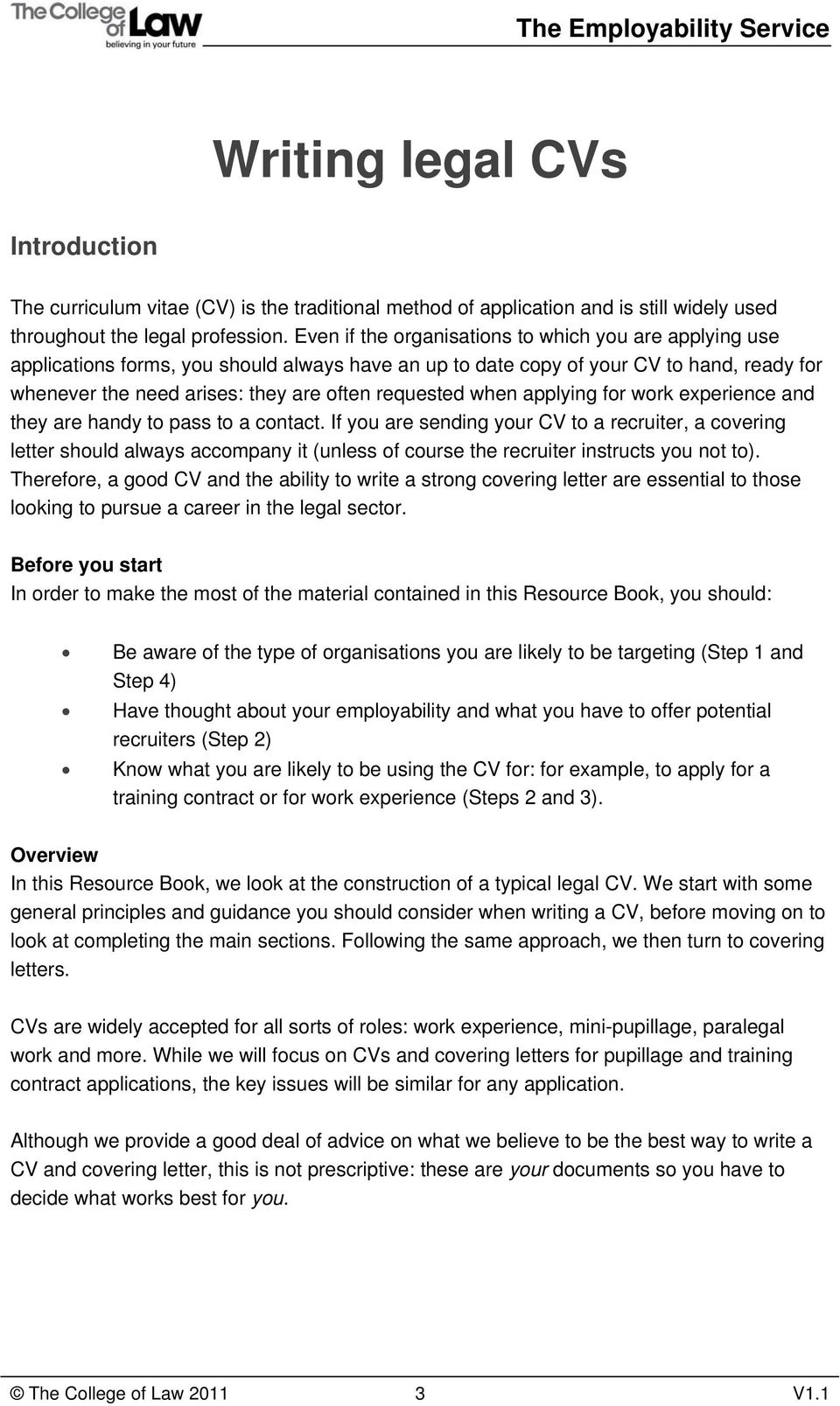 Step 6 Writing Legal CVs And Covering Letters PDF Free