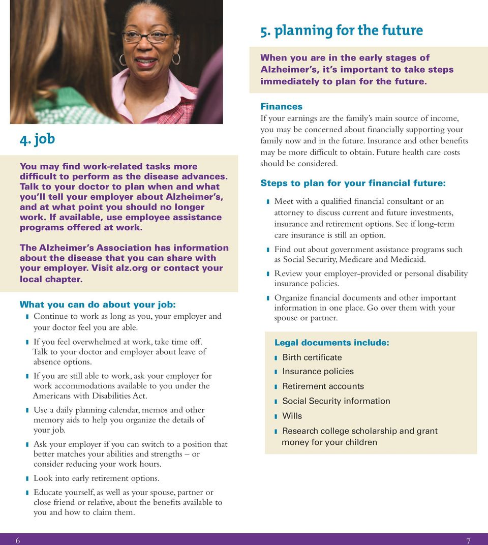Talk to your doctor to plan when and what you ll tell your employer about Alzheimer s, and at what point you should no longer work. If available, use employee assistance programs offered at work.