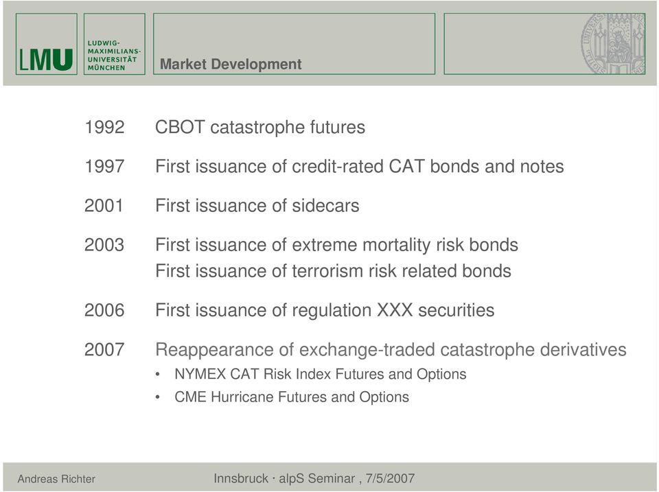terrorism risk related bonds 2006 First issuance of regulation XXX securities 2007 Reappearance of