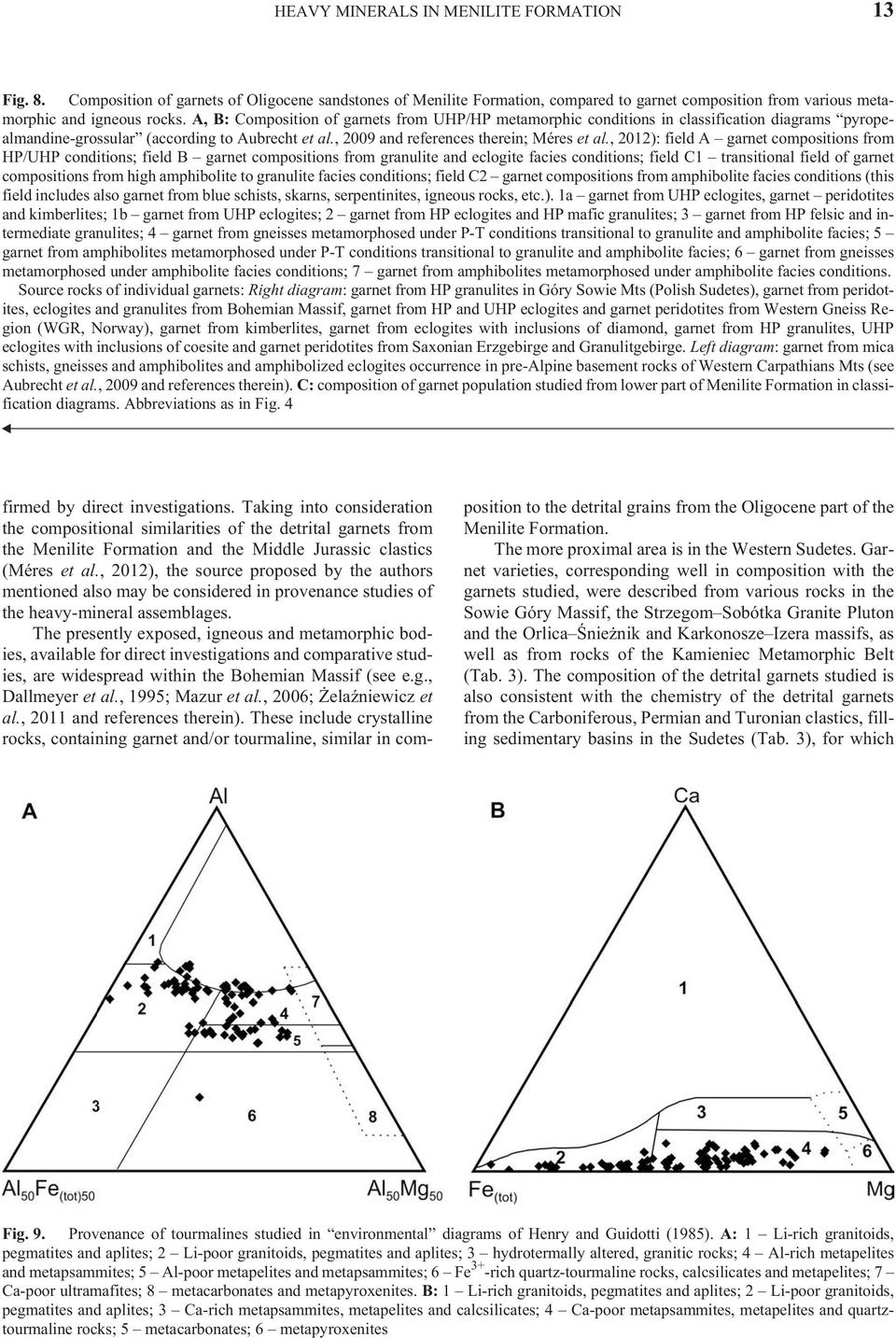 A, B: Com po si tion of gar nets from UHP/HP metamorphic conditions in classification diagrams pyropealmandine-grossular (ac cord ing to Aubrecht et al., 2009 and ref er ences therein; Méres et al.
