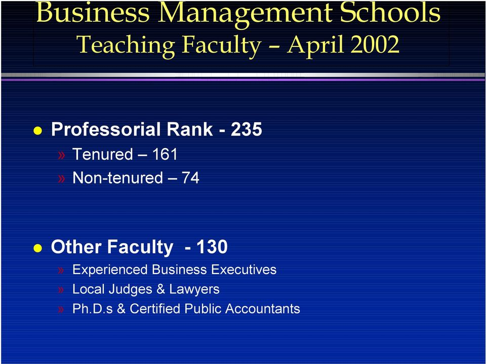 Other Faculty - 130» Experienced Business Executives»