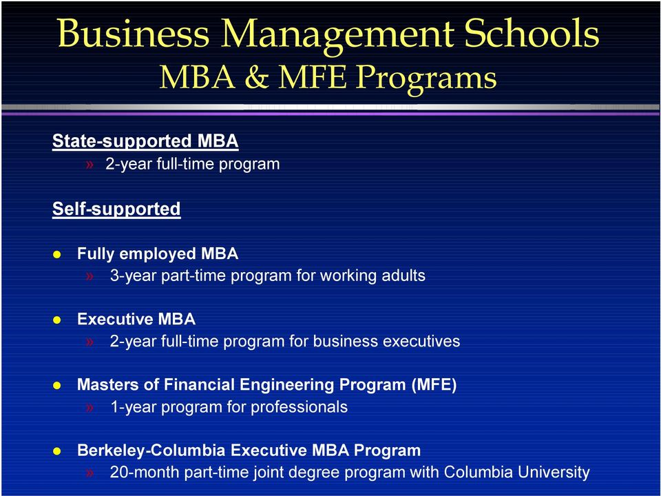 full-time program for business executives Masters of Financial Engineering Program (MFE)» 1-year program