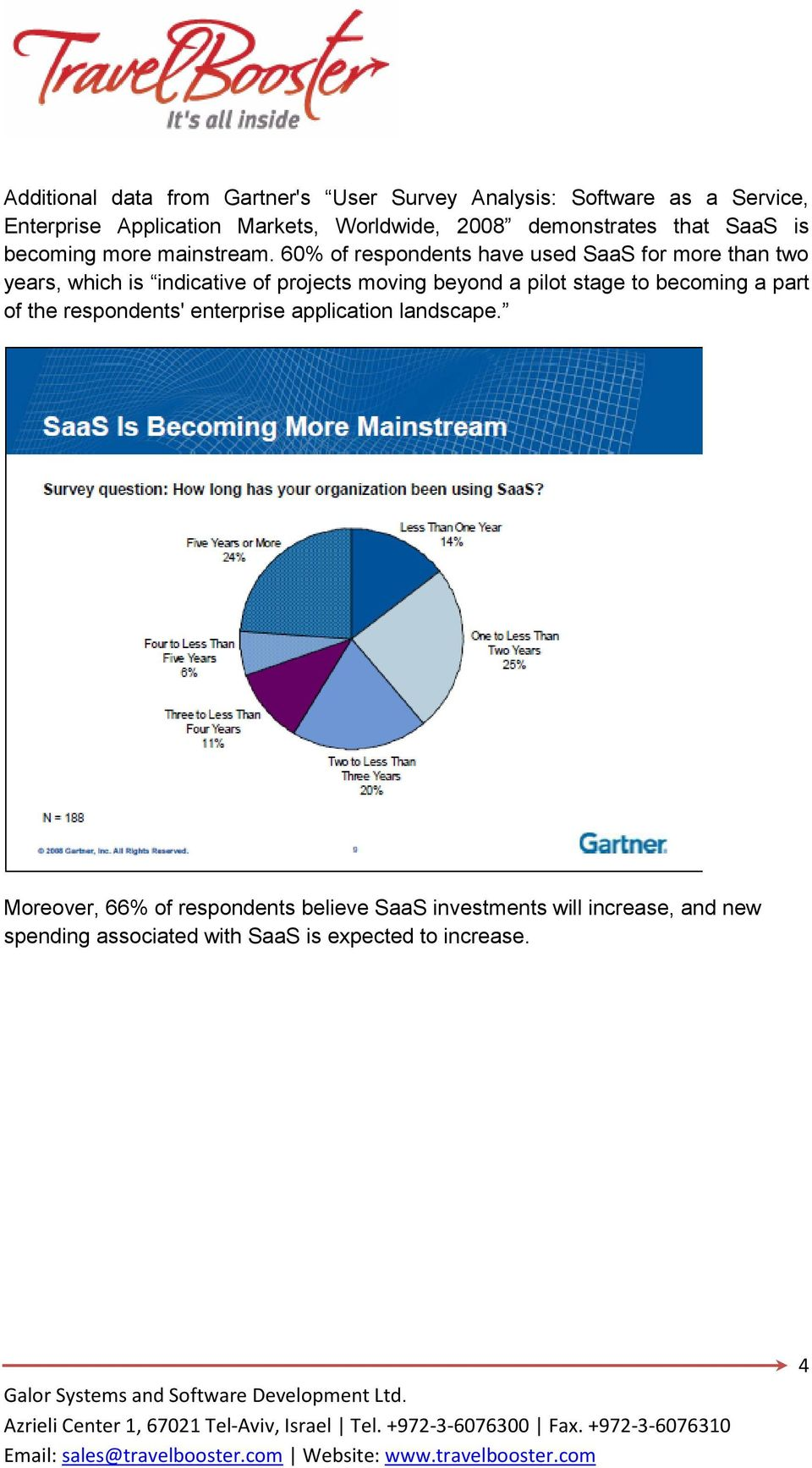 60% of respondents have used SaaS for more than two years, which is indicative of projects moving beyond a pilot stage to