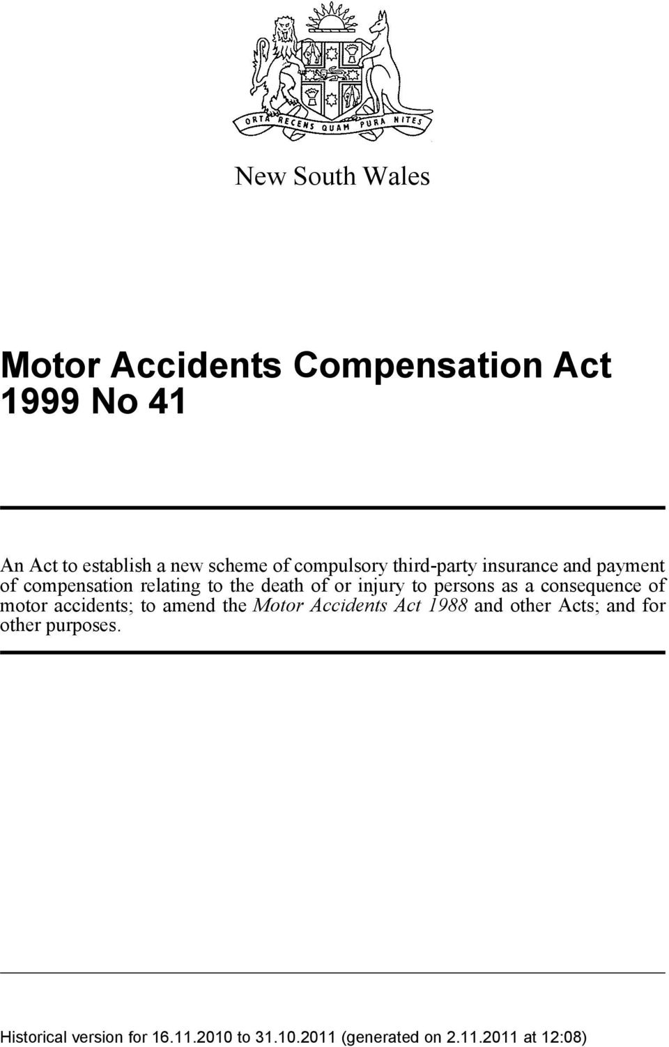 relating to the death of or injury to persons as a consequence of motor