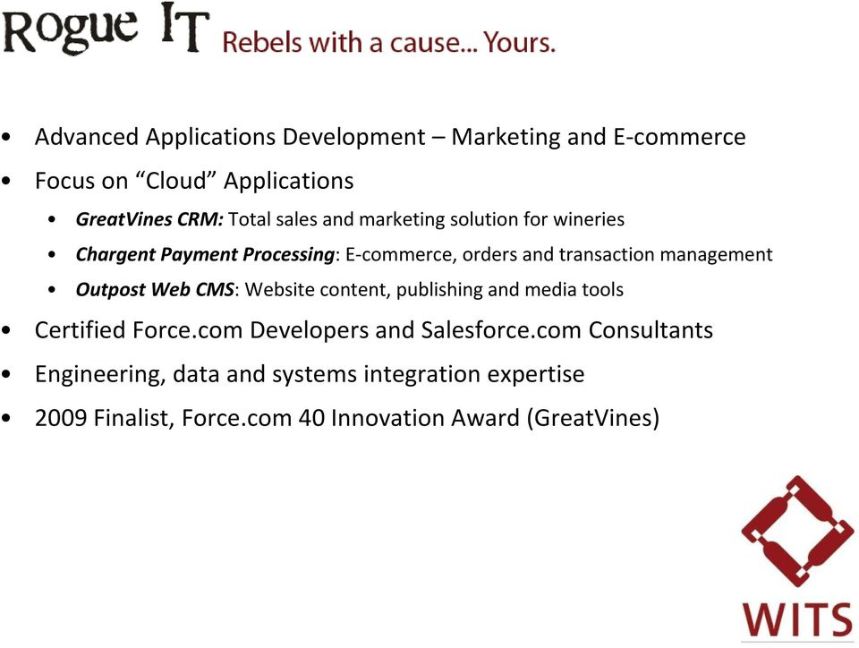 Outpost Web CMS: Website content, publishing and media tools Certified Force.com Developers and Salesforce.