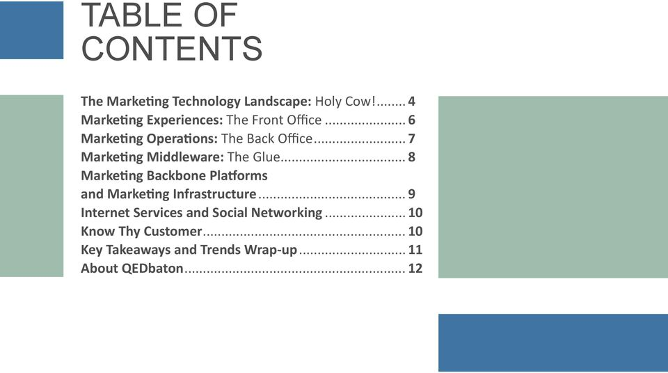.. 7 Marketing Middleware: The Glue... 8 Marketing Backbone Platforms and Marketing Infrastructure.