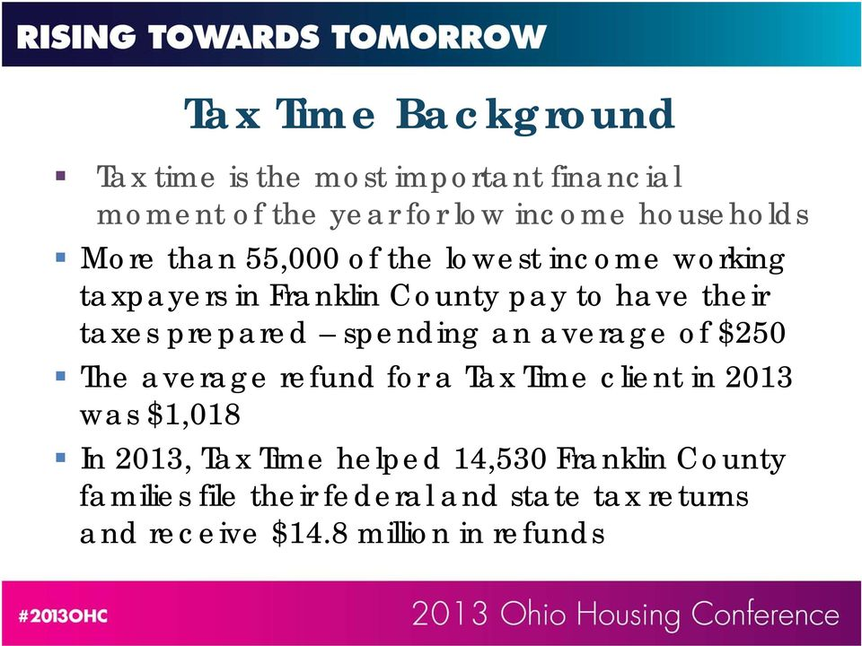 spending an average of $250 The average refund for a Tax Time client in 2013 was $1,018 In 2013, Tax Time