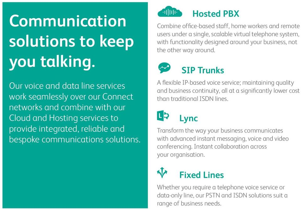 Hosted PBX Combine office-based staff, home workers and remote users under a single, scalable virtual telephone system, with functionality designed around your business, not the other way around.