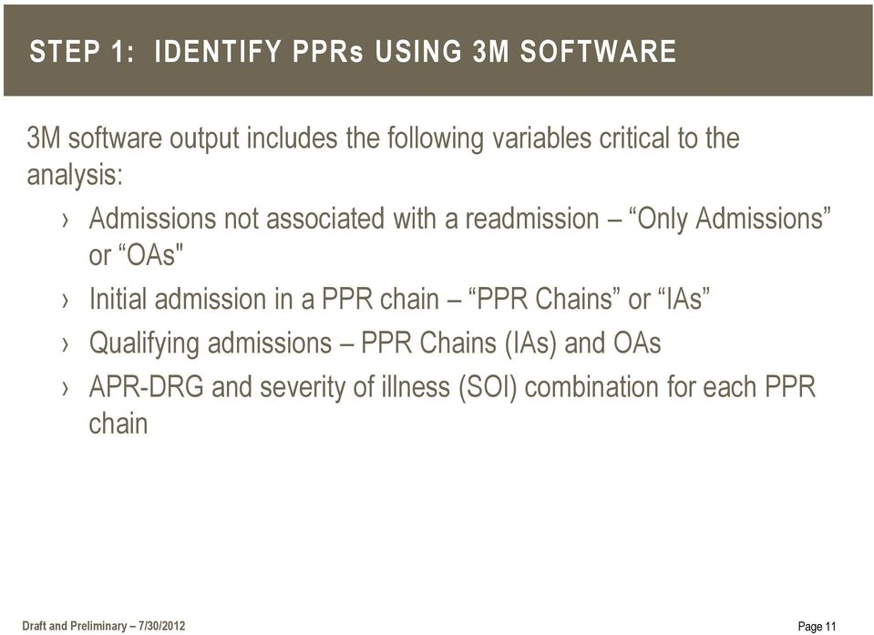 Initial admission in a PPR chain PPR Chains or IAs Qualifying admissions PPR Chains (IAs) and OAs