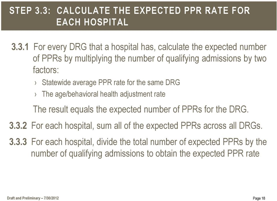 the number of qualifying admissions by two factors: Statewide average PPR rate for the same DRG The age/behavioral health adjustment rate The result