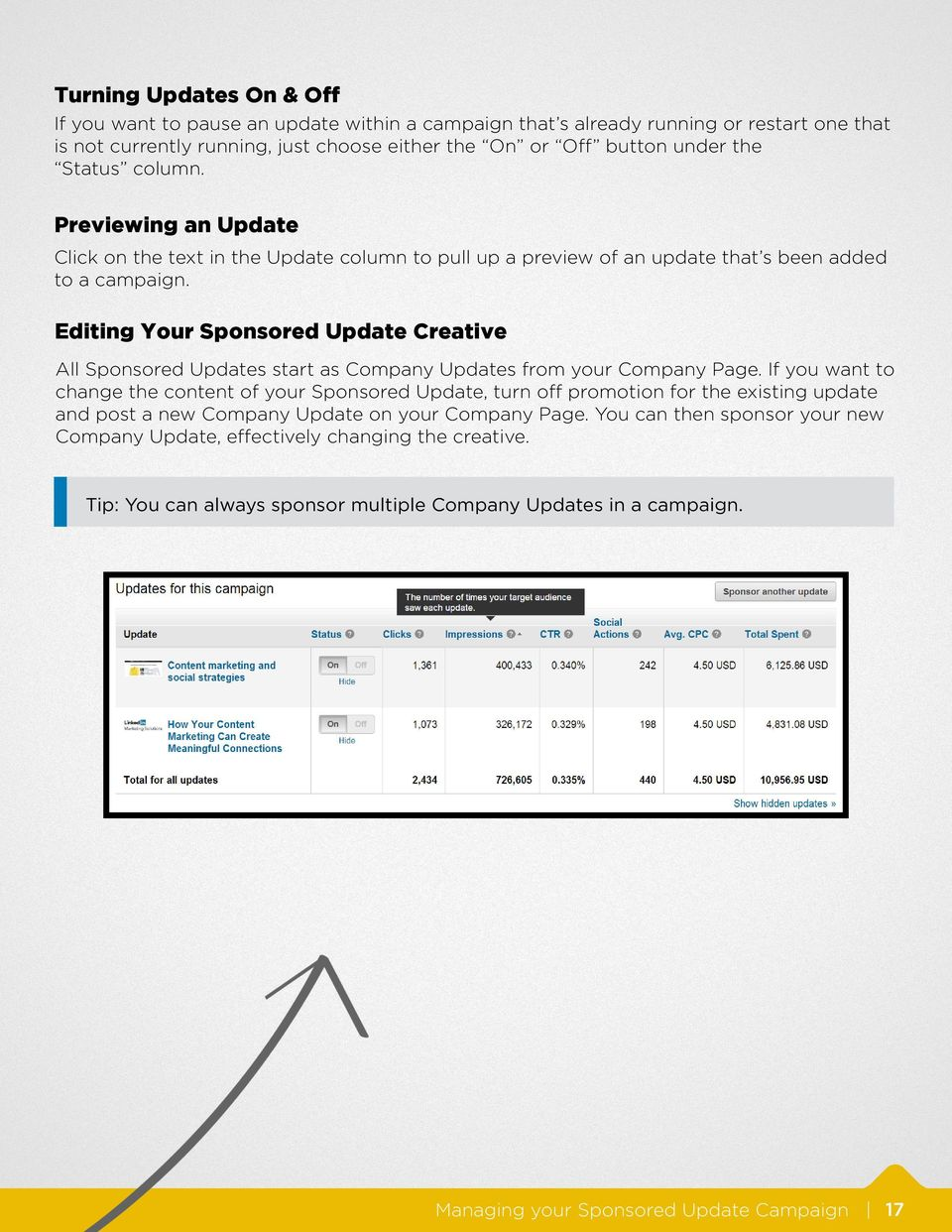 Editing Your Sponsored Update Creative All Sponsored Updates start as Company Updates from your Company Page.