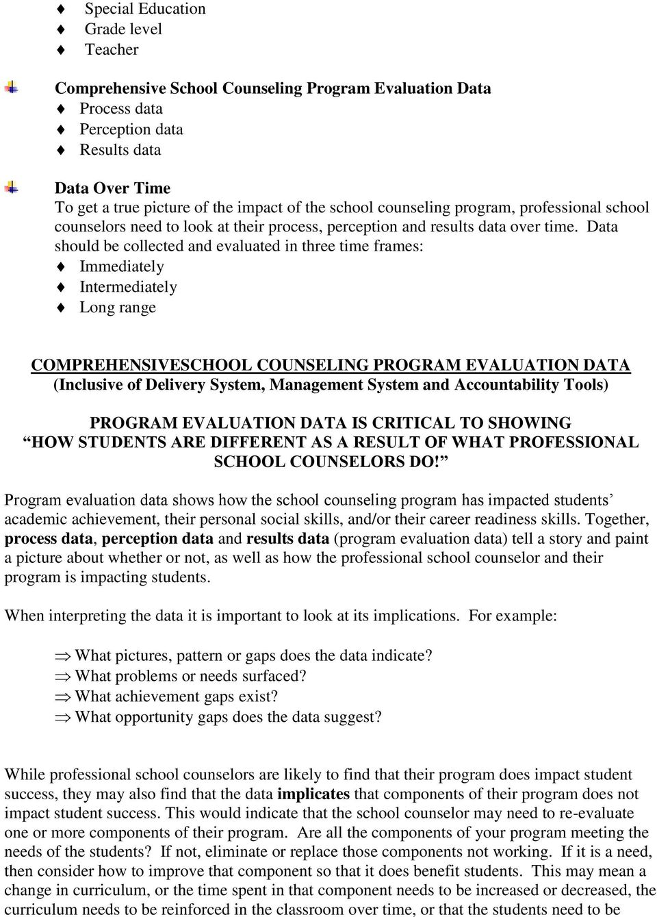 Data should be collected and evaluated in three time frames: Immediately Intermediately Long range COMPREHENSIVESCHOOL COUNSELING PROGRAM EVALUATION DATA (Inclusive of Delivery System, Management