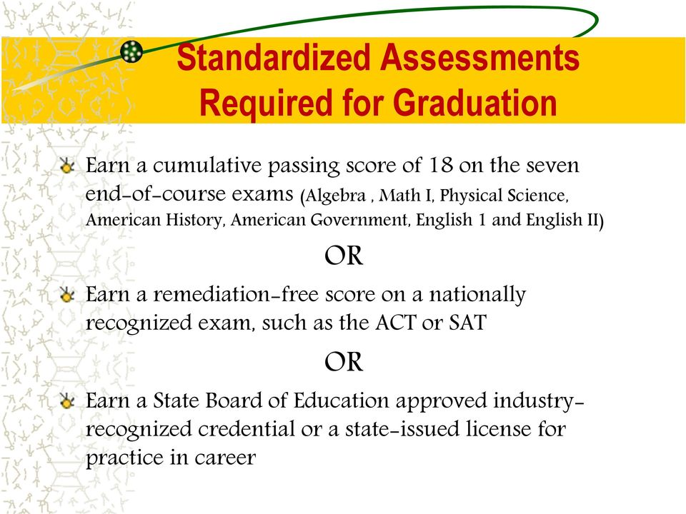 and English II) OR Earn a remediation-free score on a nationally recognized exam, such as the ACT or SAT OR