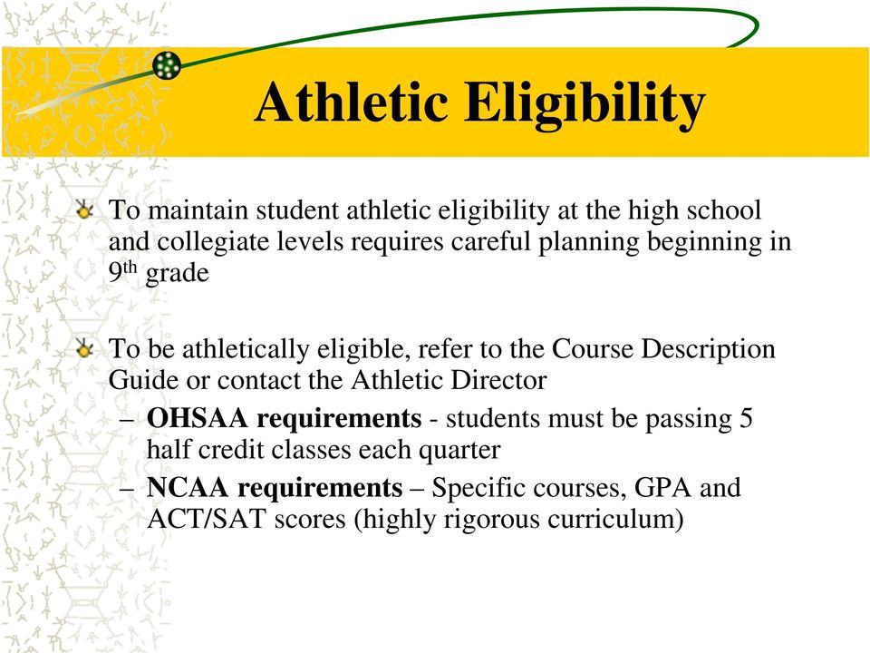 Description Guide or contact the Athletic Director OHSAA requirements - students must be passing 5 half