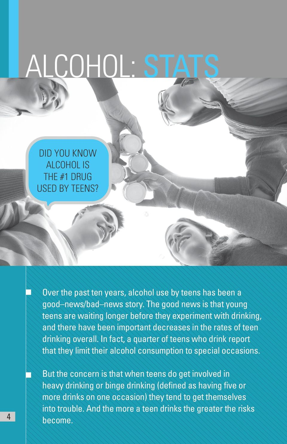 overall. In fact, a quarter of teens who drink report that they limit their alcohol consumption to special occasions.