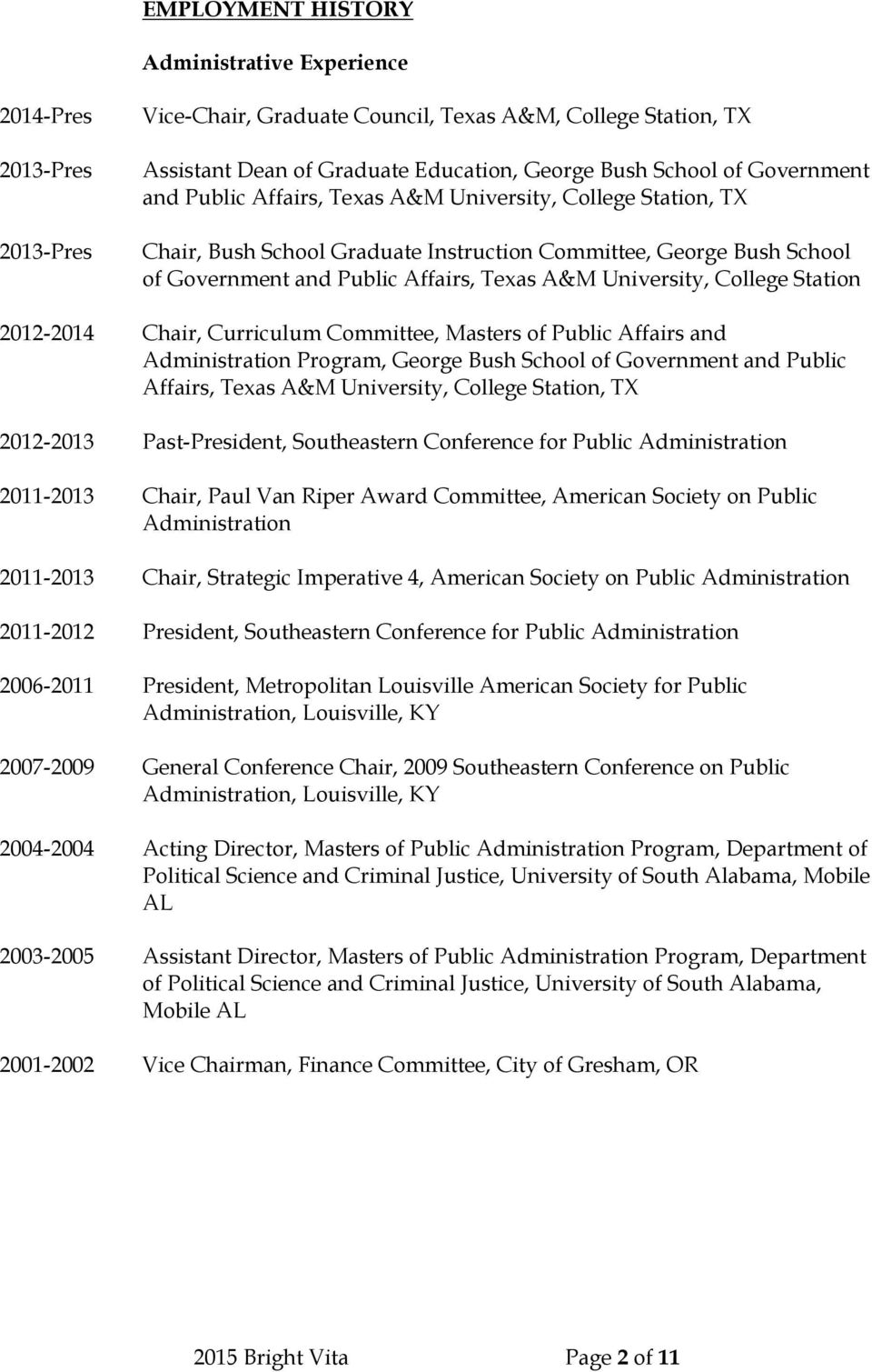 Chair, Curriculum Committee, Masters of Public Affairs and Administration Program, George Bush School of Government and Public Affairs, Texas A&M University, College Station, TX 2012-2013